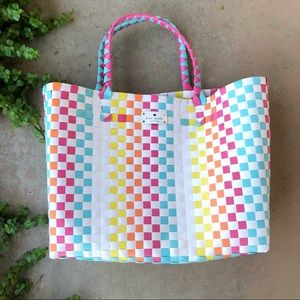 Kate Spade Rainbow Basket Weave Tote Beach Bag